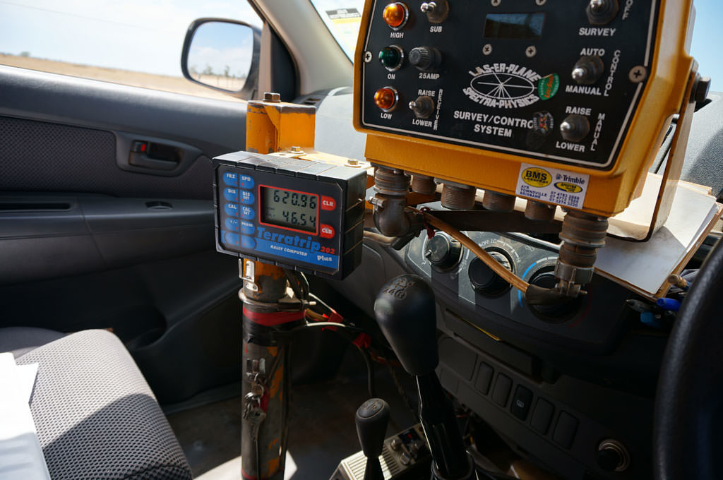 Laser level control box in Ray's ute