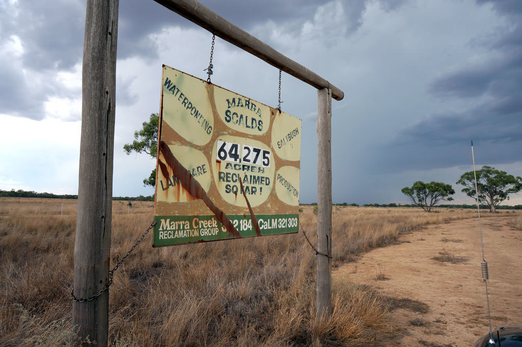 Marra Creek sign with number of acres reclaimed