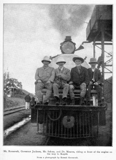 Theodore Roosevelt steaming from safari on his American-built steam train